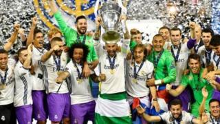 'Yan Real Madrid na murnar daukar kofin Zakarun Turai na 12
