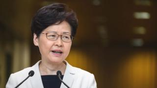 Hong Kong Chief Executive Carrie Lam speaks at a press conference in Hong Kong on August 27, 2019