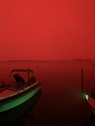 A red sky from bushfires