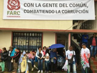 A Farc campaign banner proclaims that the Farc is combating corruption in the town of Fusagasugá
