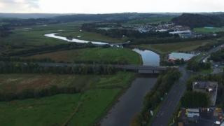 A shot of the A48 taken from a traffic monitoring drone