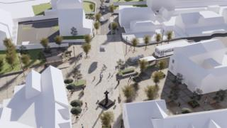 An artist impression of how the Cross area of Caldicot town centre could look