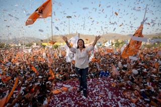 Confetti rains on presidential candidate Keiko Fujimori