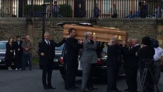 Bishop Daly's coffin at St Eugenes Cathedral