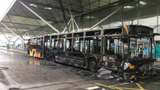 Fire-ravaged Stansted Airport bus