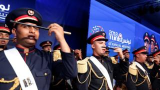 Honour guard members perform during the 43rd Annual Meeting of the Islamic Development Bank Group in Tunis, Tunisia April 4, 2018.