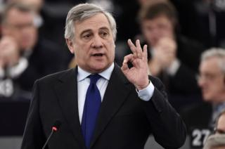 Member of the European People's Party Antonio Tajani pictured on January 17, 2016.