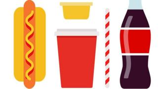 Fizzy drink and hotdog graphic