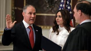 Director of Environmental Protection Agency Scott Pruitt is sworn in at the Executive Office in Washington, 17 February