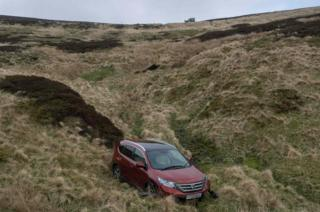 car in ravine
