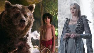 Neel Sethi with 'Baloo the Bear' in The Jungle Book and Emily Blunt in The Huntsman: Winter's War