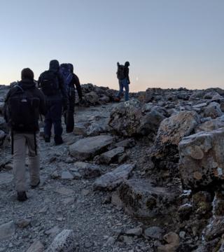 News crew on mountain