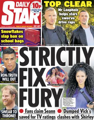 Daily Star front page - 23/10/18
