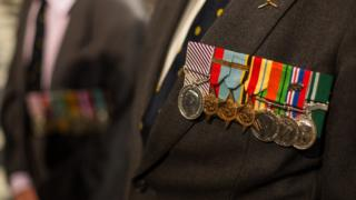 One serviceman's medals displayed for serving in World War Two