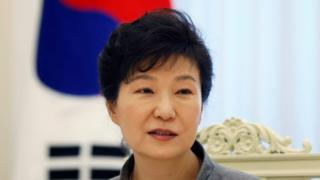 South Korean President Park Geun-hye speaks during an interview with Reuters at the Presidential Blue House in Seoul 16 September 2014.