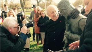 Sculptor Lawrence Holofcener with the new Shakespeare sculpture