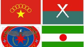 တိုင်းရင်းသား လက်နက်ကိုင် ၄ ဖွဲ့ရဲ့ အလံများ