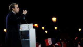 Macron at lecturn