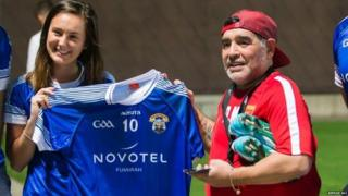 Maradona is presented with a GAA shirt