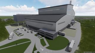 Artist's impression of energy plant building