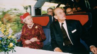 The Queen travelling on the Eurostar service with Prince Philip in May 1994