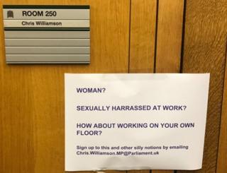 Notice put on Chris Williamson's door