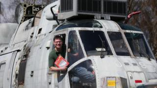 Martyn Steedman with the Sea King helicopter