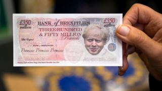 A spoof banknote depciting UK Prime Minister Boris Johnson during the Green Party Autumn Conference on October 4, 2019 in Newport, Wales. The Green Party gained nearly 200 new councillors during the local elections in May, taking the number to 362 councillors on 122 councils, and saw its number of MEPs rise from three to seven. The party opposes Brexit and supports a second referendum. (Photo by Matthew Horwood/Getty Images)