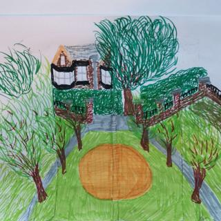 Drawing of a garden