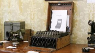 An Enigma cipher machine is on display at an auction house in Bucharest, Romania, July 11, 2017