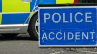 Police road accident sign