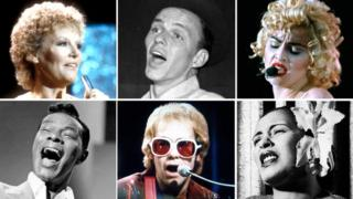 Clockwise from top left: Petula Clark, Frank Sinatra, Madonna, Billie Holiday, Elton John, Nat King Cole