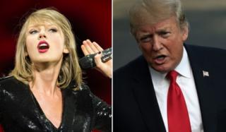 Collage of Taylor Swift and Donald Trump