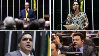 Em sentido horário, Eduardo Cunha, Clarissa Garotinho, Marco Feliciano e Cabo Daciolo
