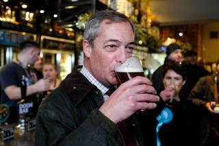 Nigel Farage drinks a pint as he visits Seaham, 2019