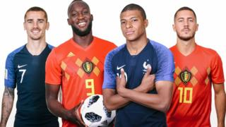 Dans ce montage photo, une comparaison a été faite entre les joueurs belges Romelu Lukaku (2eG) avec Eden Hazard (D) et les joueurs français Antoine Griezmann (G) avec Kylian Mbappe (2eD). La Belgique et la France se rencontrent mardi en du Mondial de la FIFA 2018