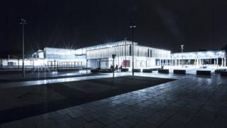 Cambridge North at night