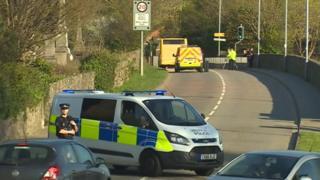 police outside Ysgol yr Hendre in Caernarfon where a girl was hit by a bus