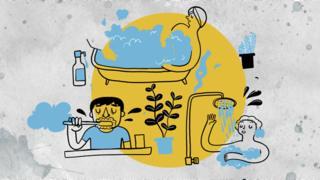 กราฟิกคนใช้น้ำทำกิจกรรมต่าง ๆ