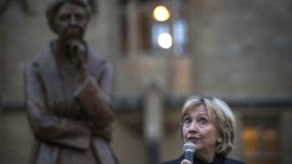 Hillary Clinton speaking after unveiling a statue of Eleanor Roosevelt outside the Bonavero Institute in Oxford, on the 70th anniversary of the Universal Declaration of Human Rights