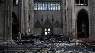 Debris inside the Notre-Dame-de Paris Cathedral in Paris