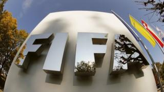 Fifa logo at its headquarters in Zurich, Switzerland (03 October 2015)