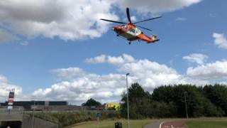 Air ambulance at scene of A10 accident