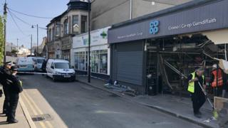The damaged front of the Co-op in Garndiffaith
