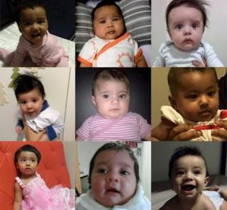 Composite images of some of the babies expected to be deported, released by Human Rights Law Centre
