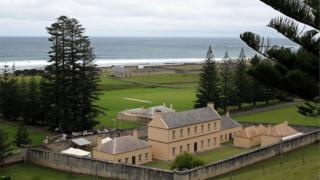 A view of the former military barracks at Kingston on Norfolk Island