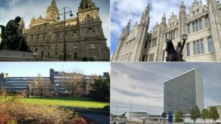 Clockwise from top left, Glasgow City Council, Aberdeen City Council, Renfrewshire Council and South Lanarkshire Council