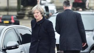 Theresa May arrices at Cardiff Brexit meeting