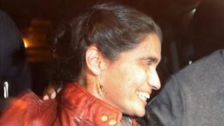 Maritza Garrido Lecca, a ballet dancer who hid Abimael Guzman, former leader of Shining Path in her apartment in the 1990s, is freed from prison in Lima, Peru, September 11, 2017.