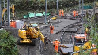 Repair work continues on the section of track where a tram crashed